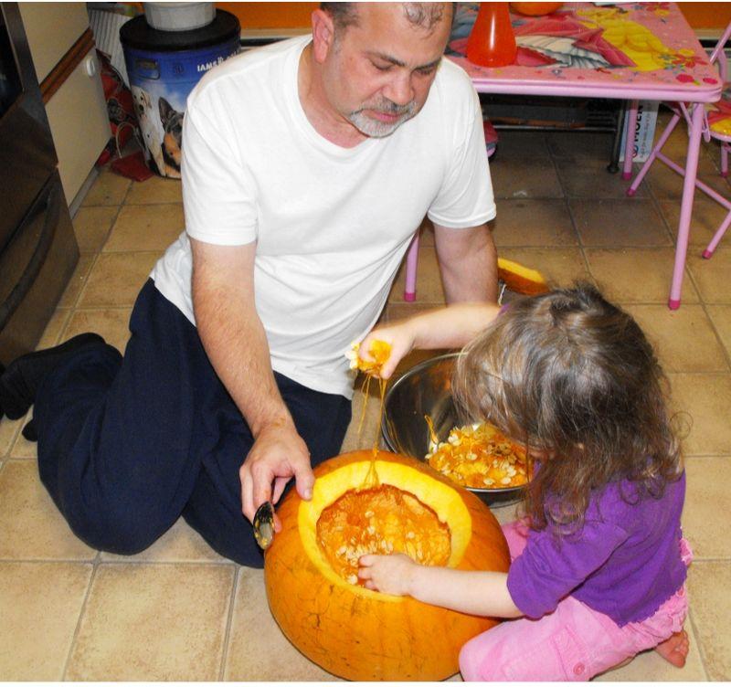 Pumpkin goo with dad