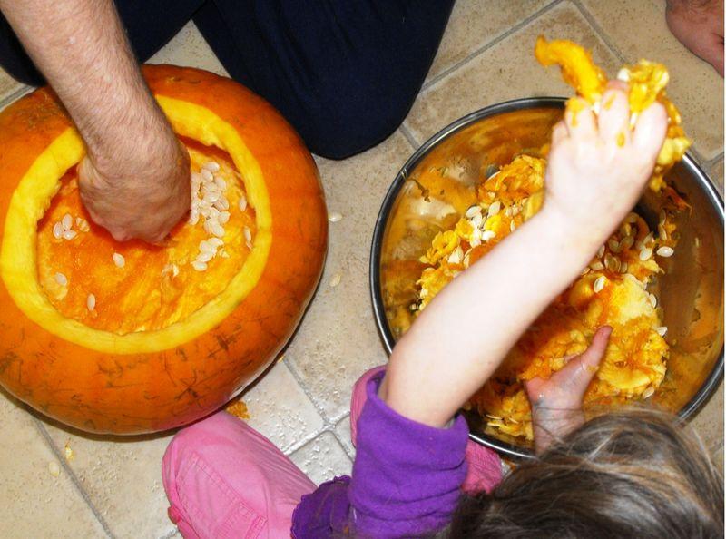 Overhead pumpkin guts